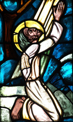 Jesus praying (stained glass window)