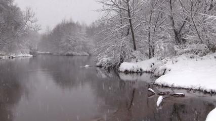 Snow Covered River Landscape