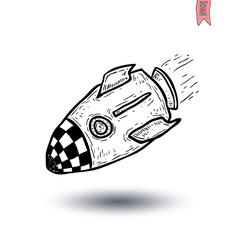 Rocket ship cartoon icon, vector illustration.