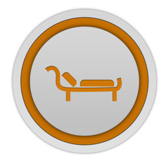 Bed circular icon on white background