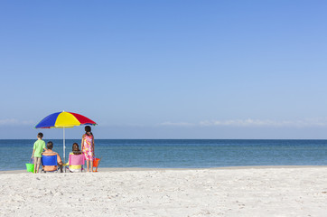 Family Alone on Beach With Umbrella
