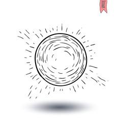 Sun icon, hand drawn vector illustration.