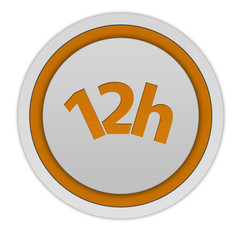 12 hours circular icon on white background