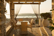 Patio at sunset on the Greek island of Paros