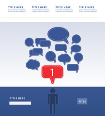 human and text balloon Vector speech bubble icons