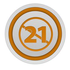 21 circular icon on white background