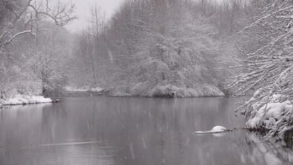 River in Winter Snow