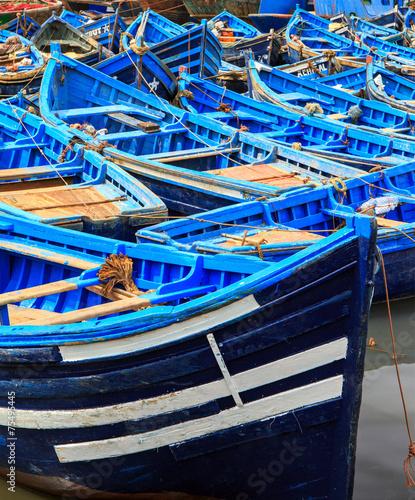Blue boats of Essaouira, Morocco - 75495445