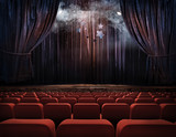 Fototapety Theater stage with red curtains