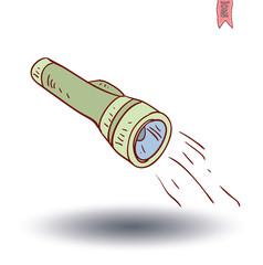 flashlight icon, hand drawn vector illustration.