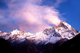Holy mount Machapuchare (Fishtail) at sunset, Nepal poster
