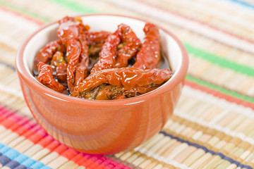 Sun-dried Tomatoes - Bowl of sun-dried tomatoes in olive oil