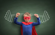 Leinwanddruck Bild - Weightlifting superhero boy