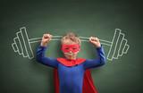 Weightlifting superhero boy