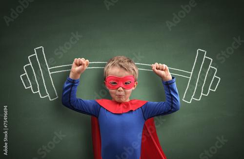 Leinwanddruck Bild Weightlifting superhero boy