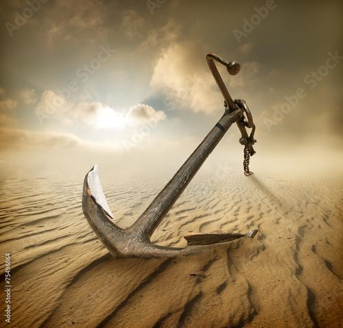 Anchor in desert - 75496864