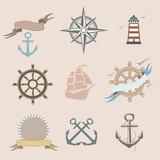 Illustration of set marine icons