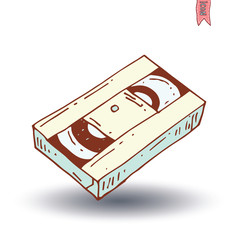 old vhas video tape icon , vector illustration