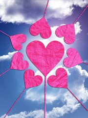 heart hearts love valentines day sky blue clouds