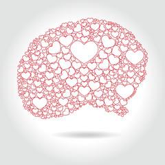 Human brain full hearts - love thinking, vector