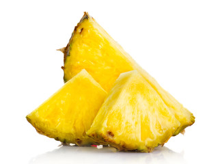Fresh pineapple fruit slices isolated on white