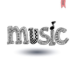 music lettering, hand drawn illustration.
