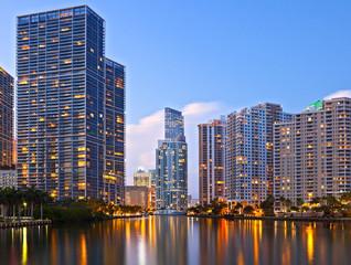 City of Miami Florida, sunset skyline