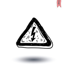 Triangle sign with high voltage icon - vector illustration