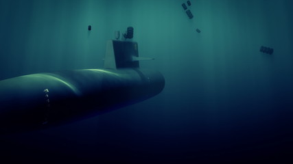 Computer generated submarine under death charge attack
