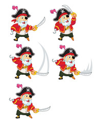 Old Pirate Attacking Sprite