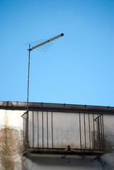 Radio antenna on strange  balcony