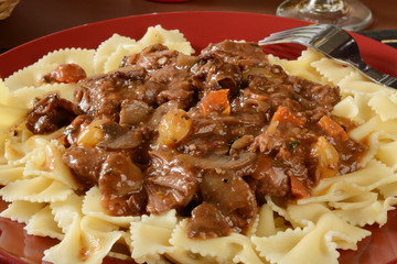 Boeuf Bourguignon on farfalle pasta