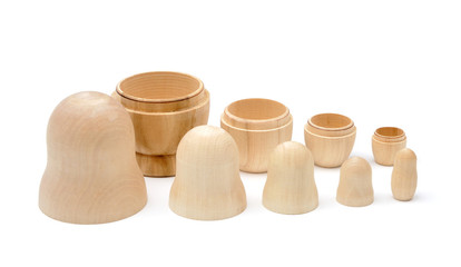Set of five disassembled wooden matryoshkas