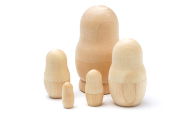 Set of five wooden unpainted matryoshkas
