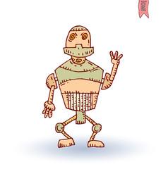 Robot cartoon, vector illustration.