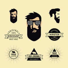 Hipster style of guy with sunglasses and collection of elements