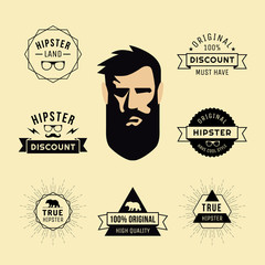 Hipster style of guy collection of elements