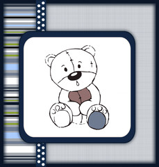 Astonished teddy bear greeting card