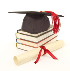Red Grad Cap Diploma Books