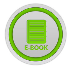 E-book circular icon on white background