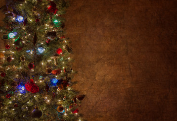 Christmas tree against wall with room for copy