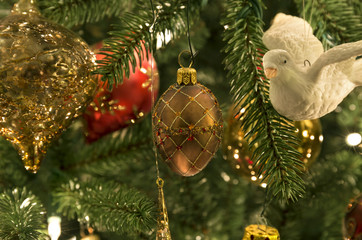 Christmas tree with hanging ornaments