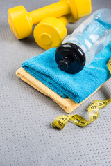 Fitness and healthy life. Conceptual photo Various accessories f