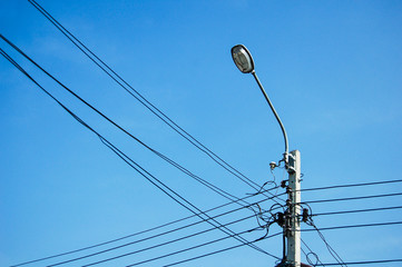 electricity pole on Blue Sky in Thailand