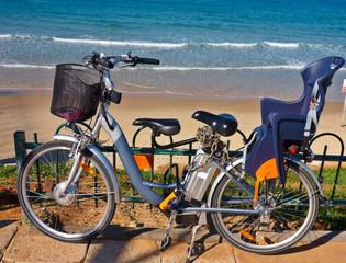 Bikes stands near the sea