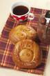 """""""Pig"""" pies and tea, closeup"""