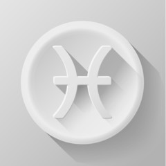 Vector modern signs of the zodiac. Circle icons. Pisces