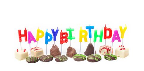 Happy Birthday, Geburtstagskerzen auf Konfekt