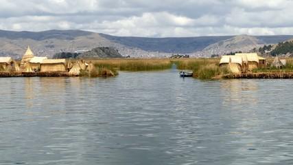 Titicaca lake reed housing Bolivia