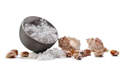 Sea salt  on  white background